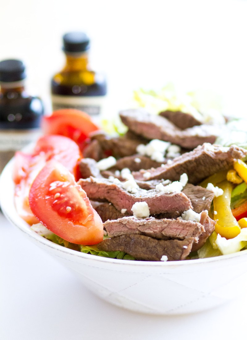 Fajita Steak Salad with Avocado Cilantro Dressing