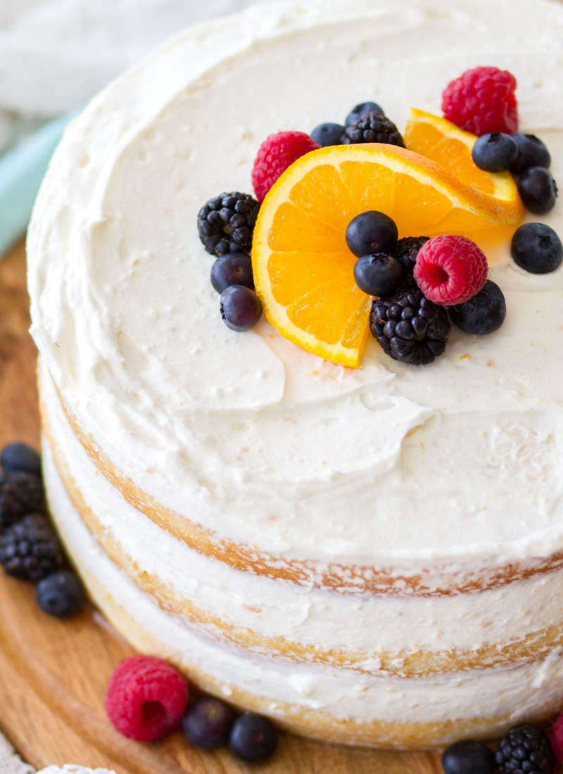 Mixed Berry Orange Naked Cake