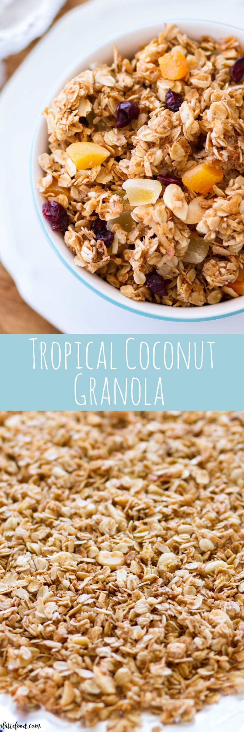 This homemade tropical coconut granola recipe is so simple to make, and is packed with coconut (and coconut oil!), golden raisins, dried pineapple, dried cranberries, dried apricots and macadamia nuts!