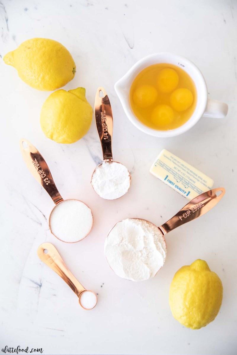 lemon square ingredients on marble board