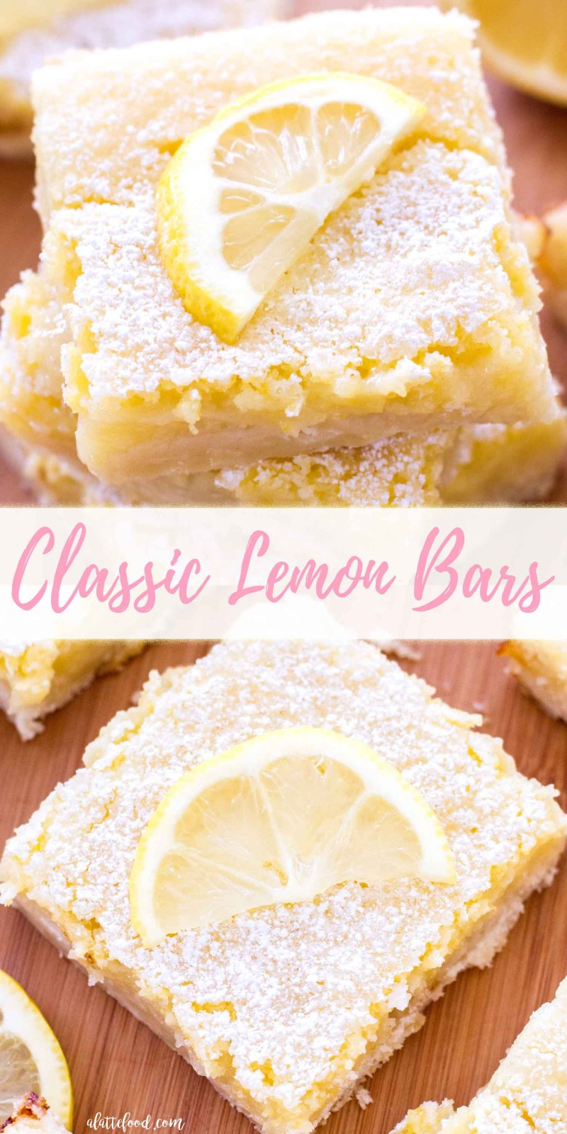 These classic lemon bars have a tangy lemon filling and a sweet shortbread crust! These homemade lemon bars are the perfect Easter dessert, spring dessert, or summer dessert! Or, if you're like me, this lemon bar recipe is perfect for any time of the day! easy lemon bars, the best lemon bar recipe