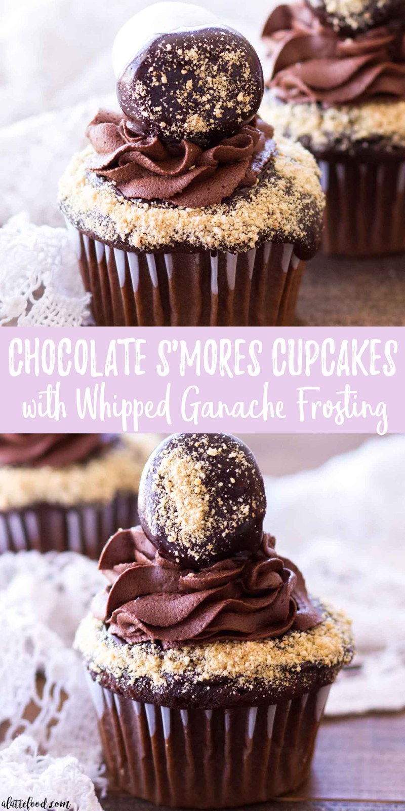 chocolate s'mores cupcakes collage photo with text