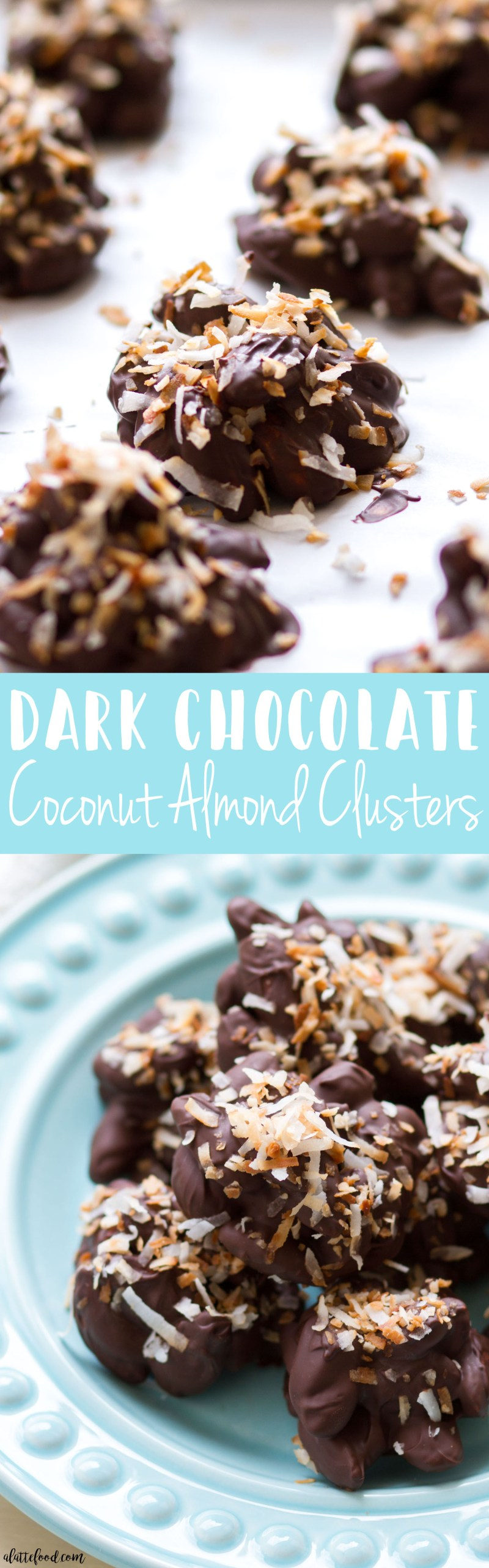 These homemade chocolate almond clusters are made with melted dark chocolate and toasted coconut to make an irresistible quick and easy snack or sweet treat! These Coconut Dark Chocolate  Almond Clusters are super simple to make (as you can see in a step-by-step video below), and a total crowd pleaser! coconut, almond clusters, chocolate covered almonds