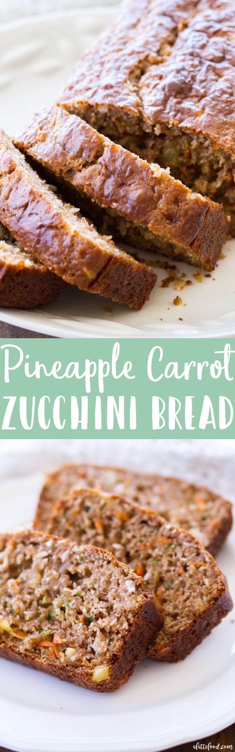 This homemade zucchini bread recipe is filled with shredded carrots, sweet pineapple, and coconut! Pineapple Carrot Zucchini Bread is spiced with ginger and cinnamon, and the perfectquick bread for breakfast, brunch, or an after school snack! Plus, a video below! homemade zucchini bread, what to do with zucchini