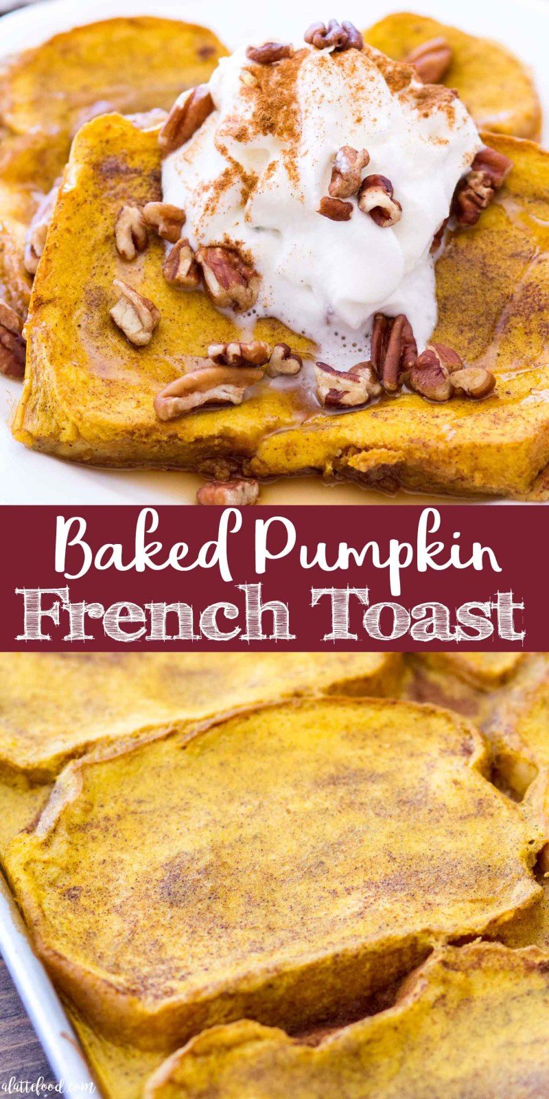 This Easy Pumpkin French Toast Recipe is baked in the oven, making this the perfect fall breakfast! This Baked Pumpkin French Toast Recipe uses thick-cut bread, and is soaked in a rich pumpkin custard and baked to perfection! #fall #pumpkin #dessert #recipe #breakfast