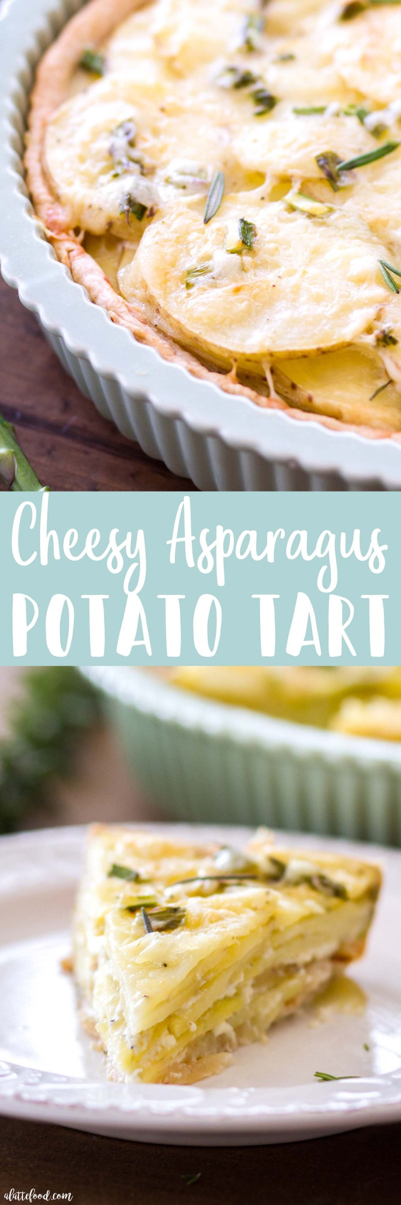 This Cheesy Asparagus Potato Tart is a savory tart filled with sliced white potatoes, asparagus, sharp white cheddar, and fresh rosemary! This potato tart is full of rich flavor, making it a perfect brunch or dinner dish for fall!