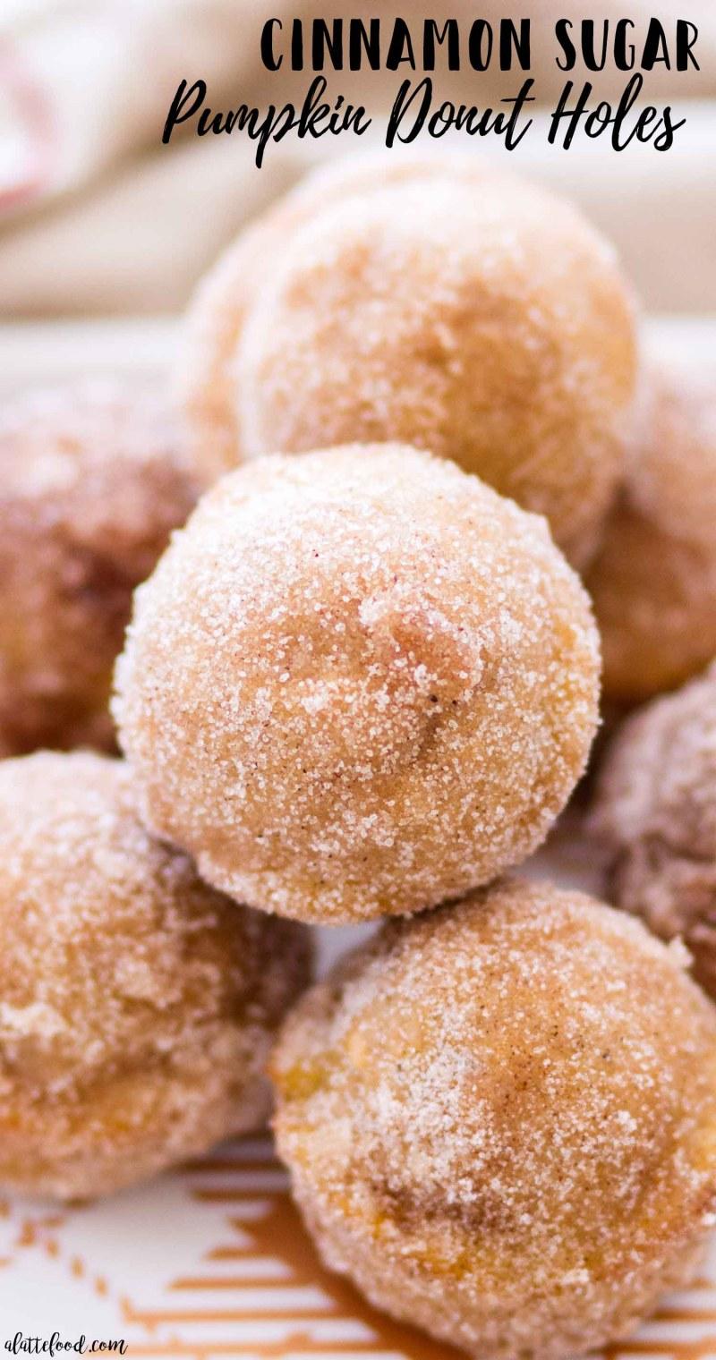 up close photo of cinnamon sugar pumpkin donut holes