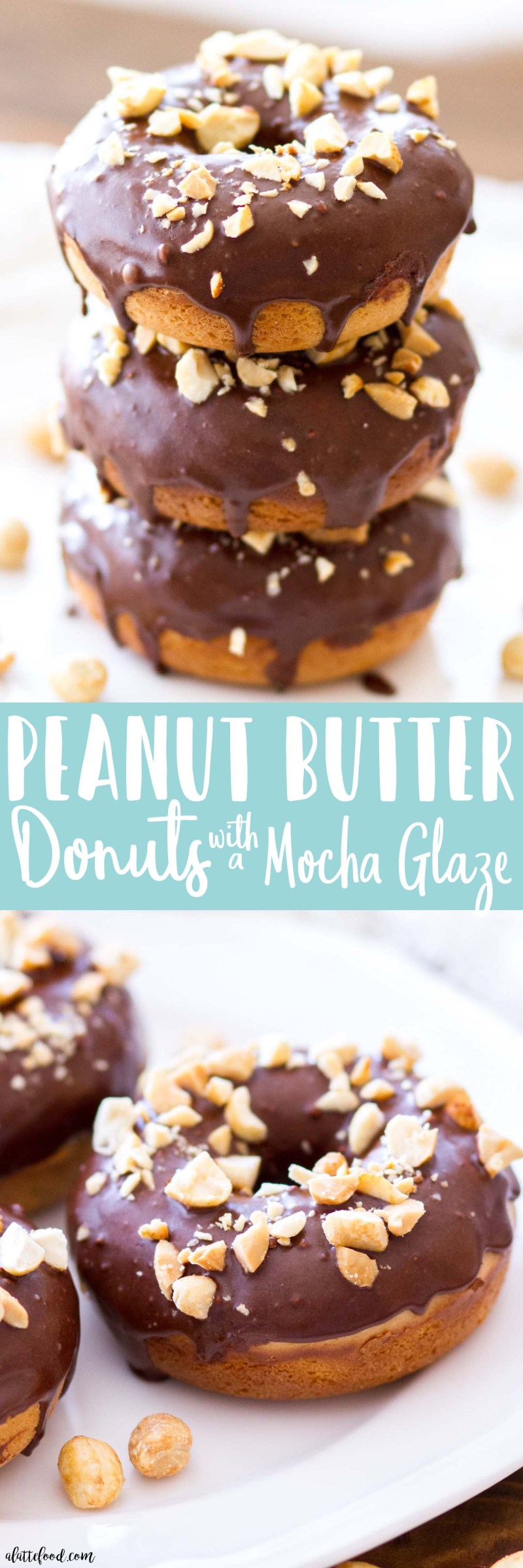 These homemade baked Peanut Butter Donuts are topped with a sweet Mocha Glaze! These homemade donuts are the perfect fall dessert ordecadent breakfast, and they areespecially perfect when paired with a steaming cup of coffee!