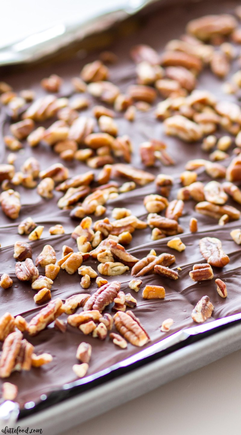 pumpkin spice toffee in a sheet pan