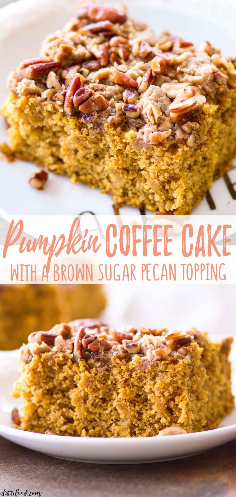 Easy Pumpkin Coffee Cake with a Brown Sugar Pecan Topping (easy homemade coffee cake recipe!)