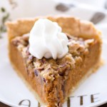 This Apple Butter Pumpkin Pie with Brown Sugar Streusel is a fun twist on the classic pumpkin pie recipe and would be the perfect Thanksgiving pie (or even Christmas dessert!)! This easy apple butter pumpkin pie is rich and flavorful, and can be baked in a homemade pie crust or in a pre-made pie crust. When topped with the brown sugar streusel and a bit of whipped cream, this homemade pumpkin pie is irresistible! Plus, a video down below!