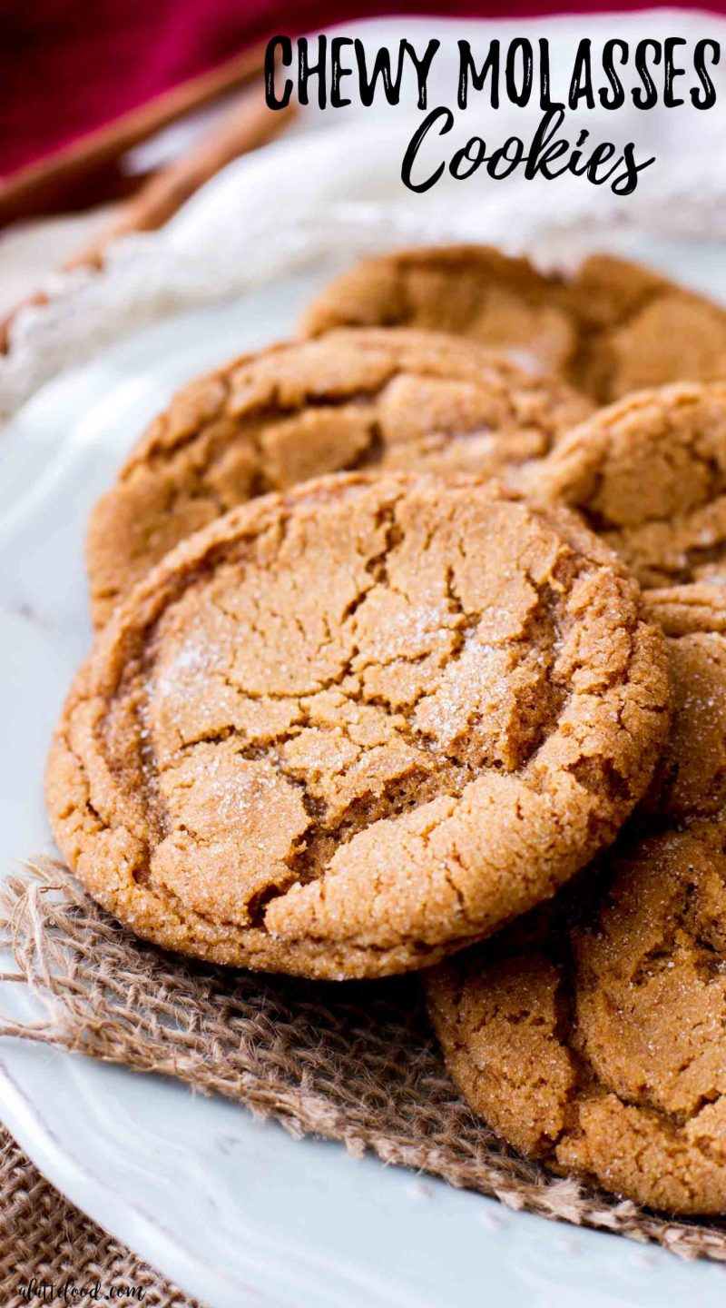 easy molasses sugar cookies on a plate with text