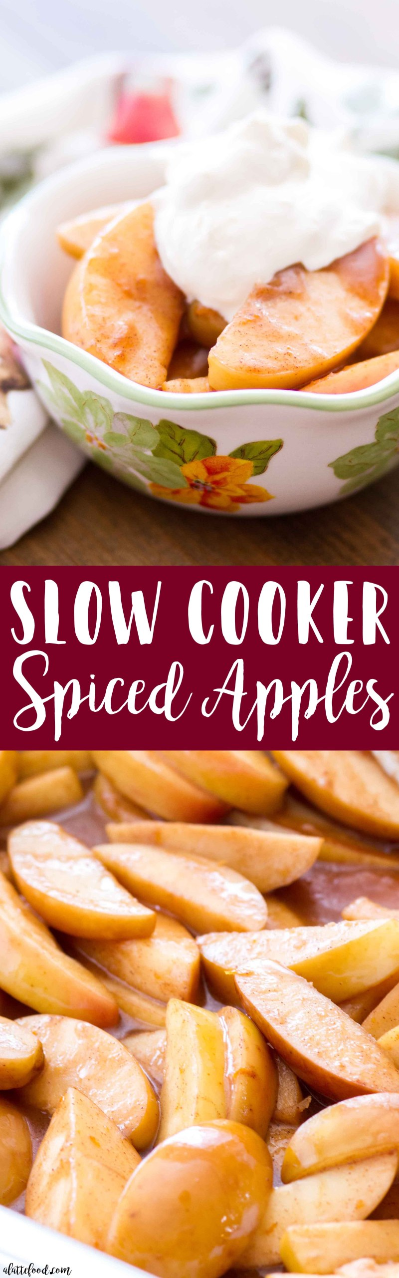 Slow Cooker Spiced Apples Recipe -- These sweet slow cooker spiced apples taste just like homemade apple pie filling! These apples are cooked with maple syrup, apple pie spice, orange zest, apple cider (or apple juice), butter, and bit of corn starch (to thicken the juices), making a sweet holiday dessert that is so easy! Top with ice cream, caramel sauce, or whipped cream for an even more decadent easy Thanksgiving dessert or Christmas dessert! Plus, a step-by-step video below!