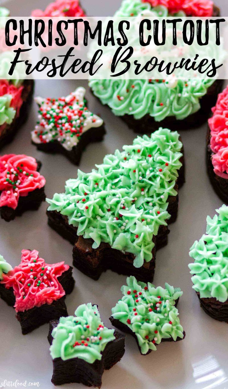 These Christmas Cutout Frosted Brownies are so fun and festive with green and red frosting!
