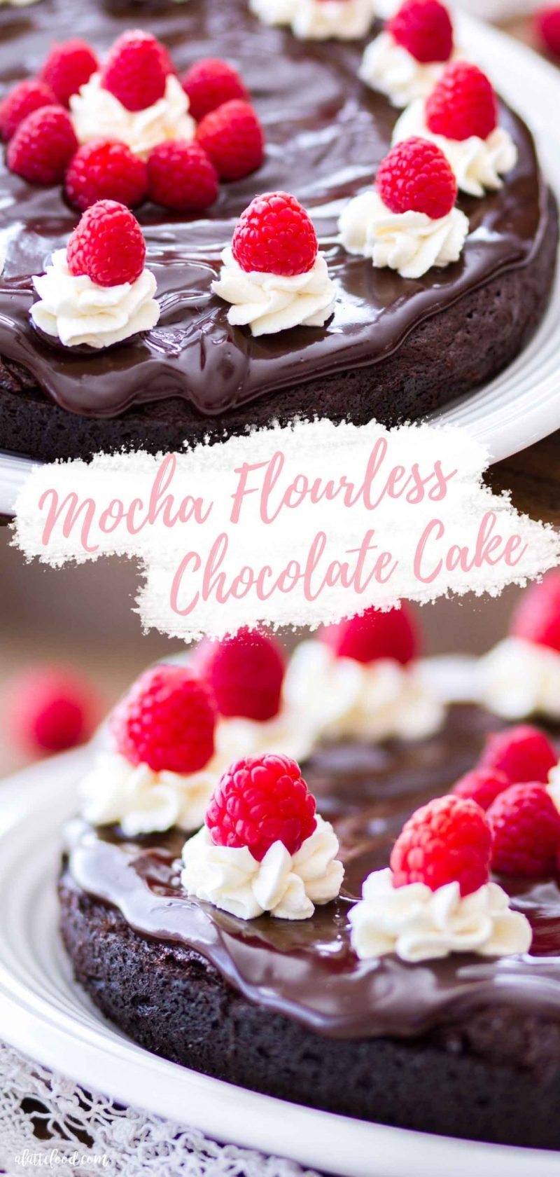 mocha flourless chocolate cake with raspberries and ganache