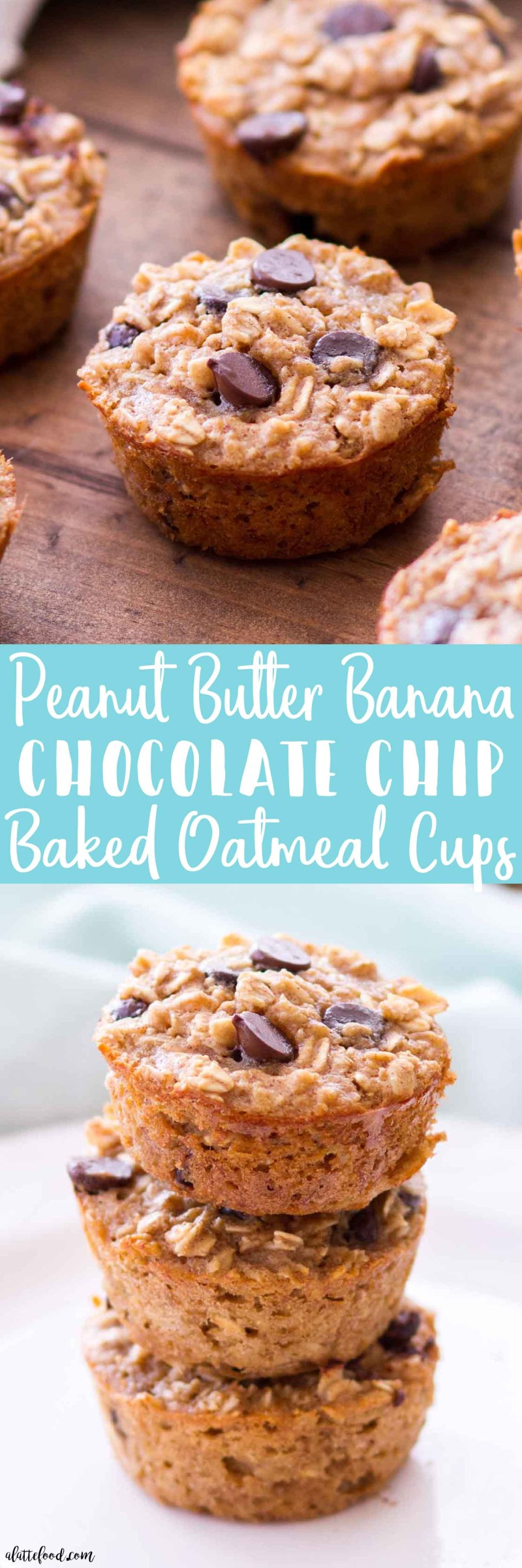 Peanut Butter Banana Chocolate Chip Baked Oatmeal Cups -- These easy baked oatmeal cups are full of peanut butter, bananas, and chocolate chips! These Peanut Butter Banana Chocolate Chip Baked Oatmeal Cups are gluten-free, and they can be made ahead of time for a quick-and-easy breakfast recipe! Plus, these baked oatmeal cups are made with maple syrup instead of refined sugar! Plus a step-by-step video below! baked oatmeal cups, quick breakfast ideas, homemade oatmeal