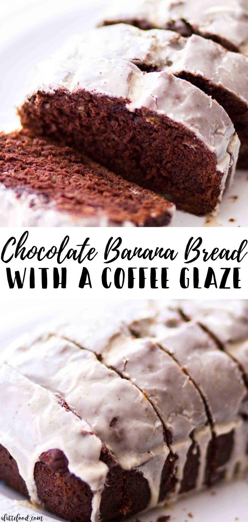 Easy chocolate banana bread with a coffee glaze