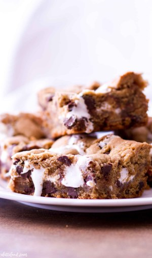 stack of peanut butter chocolate chip cookie bars