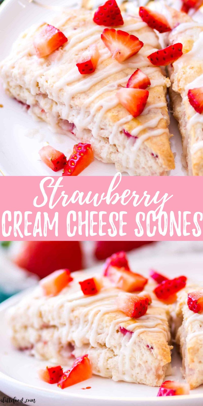 These homemade strawberry cream cheese scones are filled with fresh strawberries and topped with a vanilla glaze. Cream cheese gives these strawberry scones an unbelievably rich, soft texture, making this my favorite go-to scone recipe! These strawberry cream cheese scones are perfect for breakfast, brunch, or an afternoon snack!