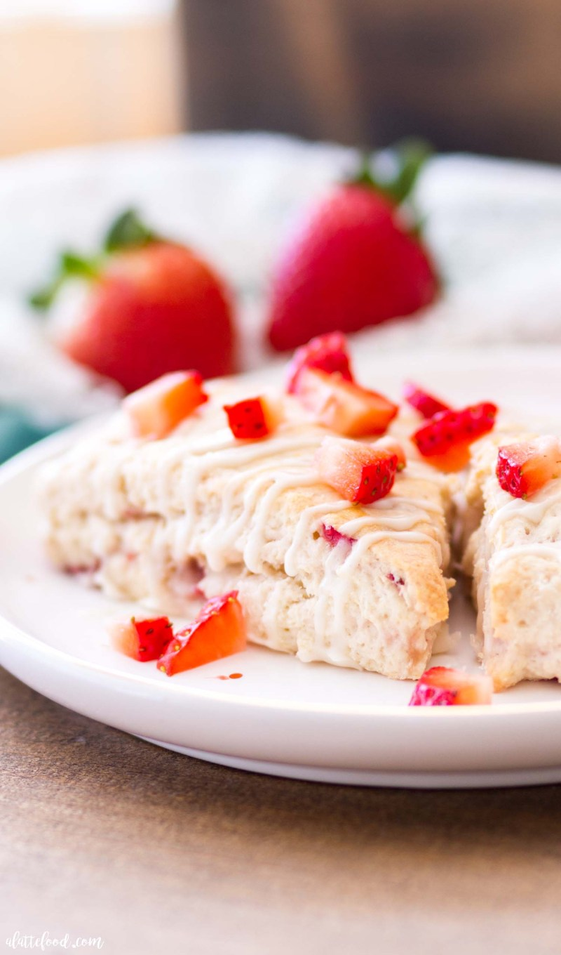 fresh strawberry scone recipe with chopped strawberries on top