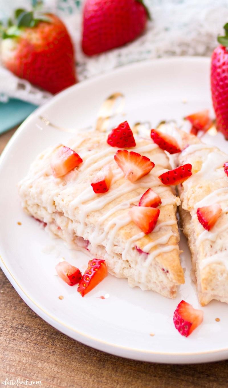 homemade strawberry cream cheese scone with vanilla glaze