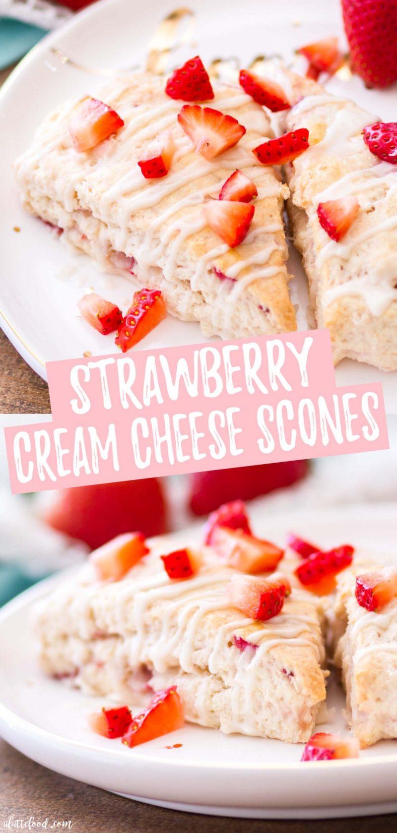 easy strawberry cream cheese scones collage