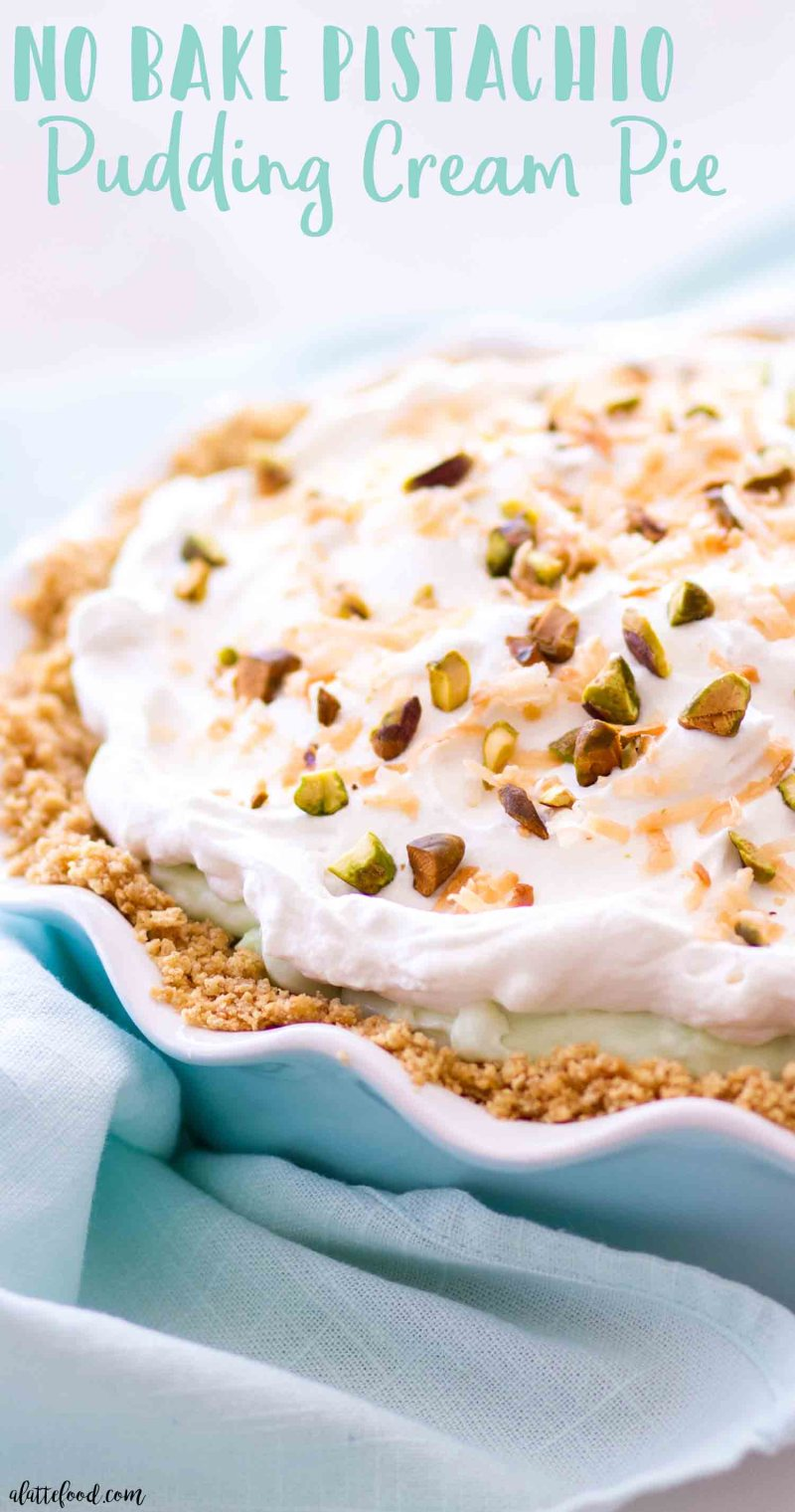 This easy no bake pistachio pudding cream pie is our favorite St. Patrick's Day dessert or Easter dessert.