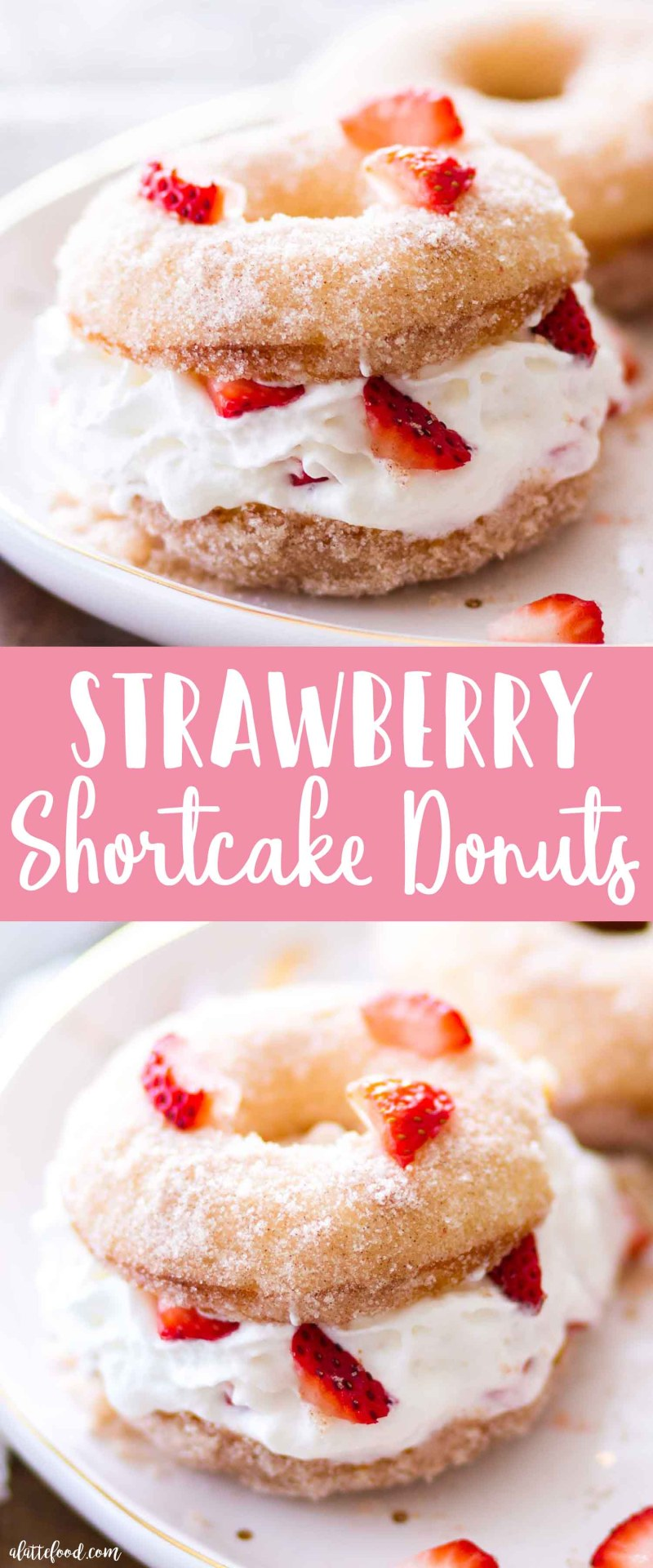 This baked strawberry shortcake donuts recipe is sweet, simple, and a fun twist on the classic strawberry shortcake recipe! These baked cake donuts are rolled in cinnamon sugar, cut in half, and filled with fresh strawberries and whipped cream. Homemade baked donuts make a great Easter brunch, breakfast, or dessert recipe!