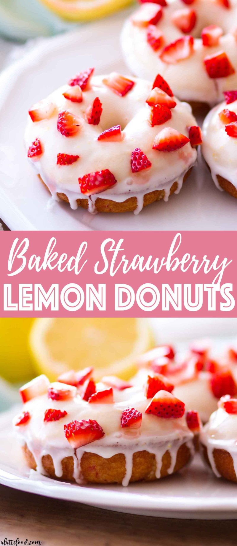 These homemade baked strawberry lemon donuts are sweet, tangy, and the perfect spring breakfast. This easy baked donut recipe is filled with fresh strawberries and topped with a lemon glaze. Plus, a step-by-step video! Yay.