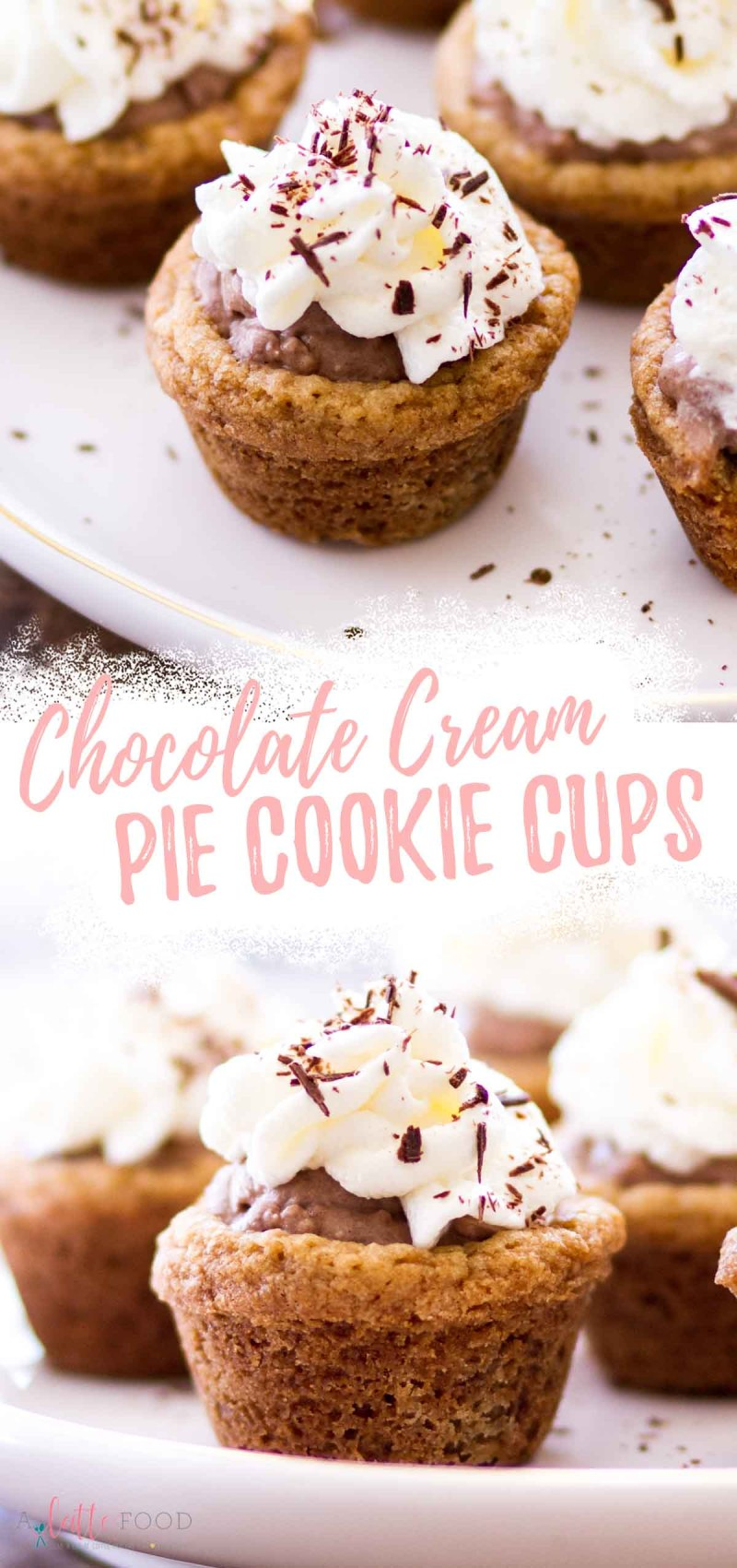 chocolate cream cookie cup with a bite missing