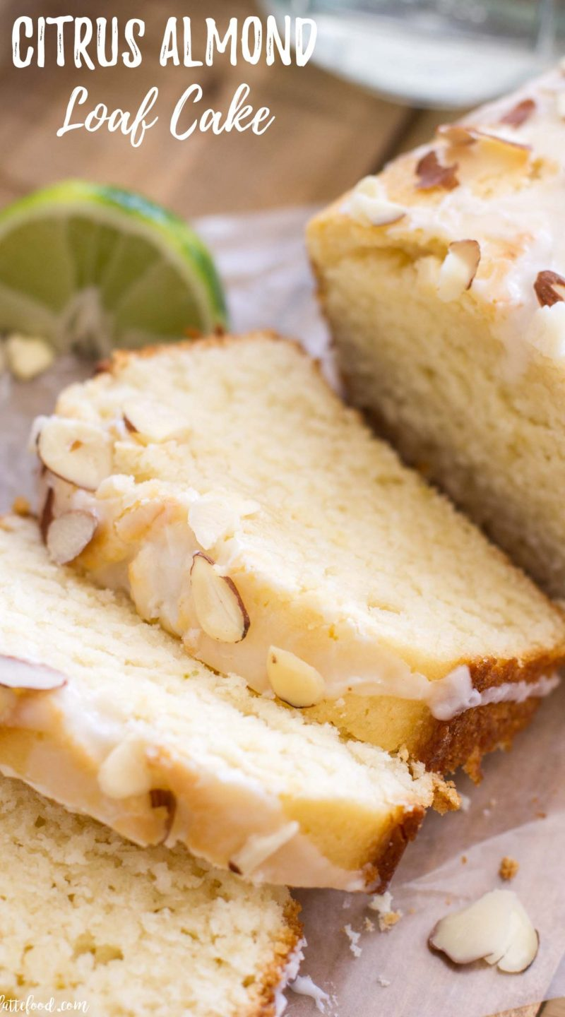 citrus loaf cake (lemon bread) with almonds and glaze
