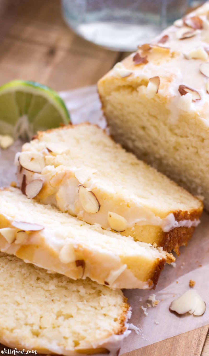 citrus bread with almonds and glaze