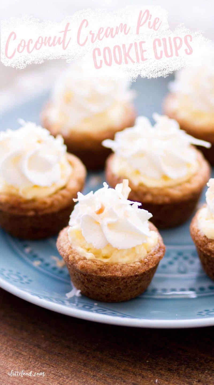 mini coconut cream pie cookie cups on blue plate