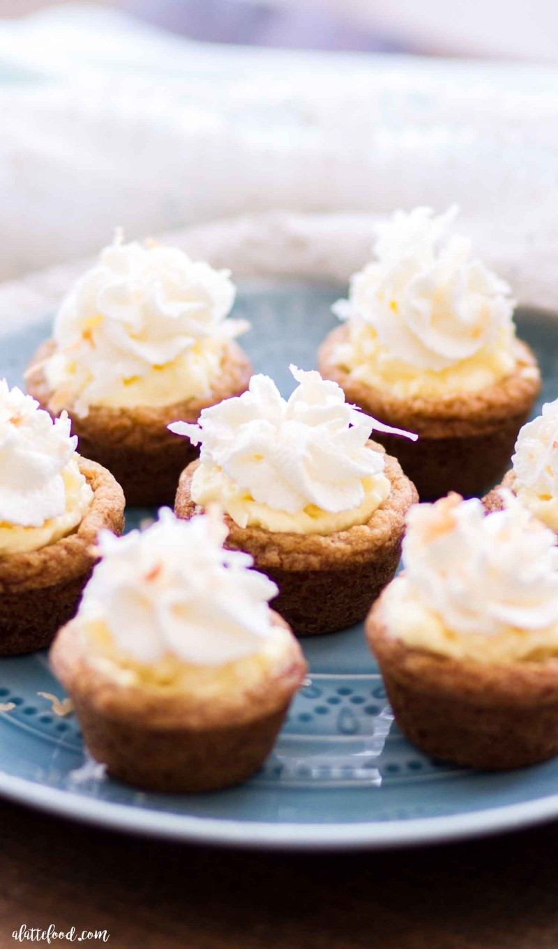 baked graham cracker cookie cups filled with coconut cream filling