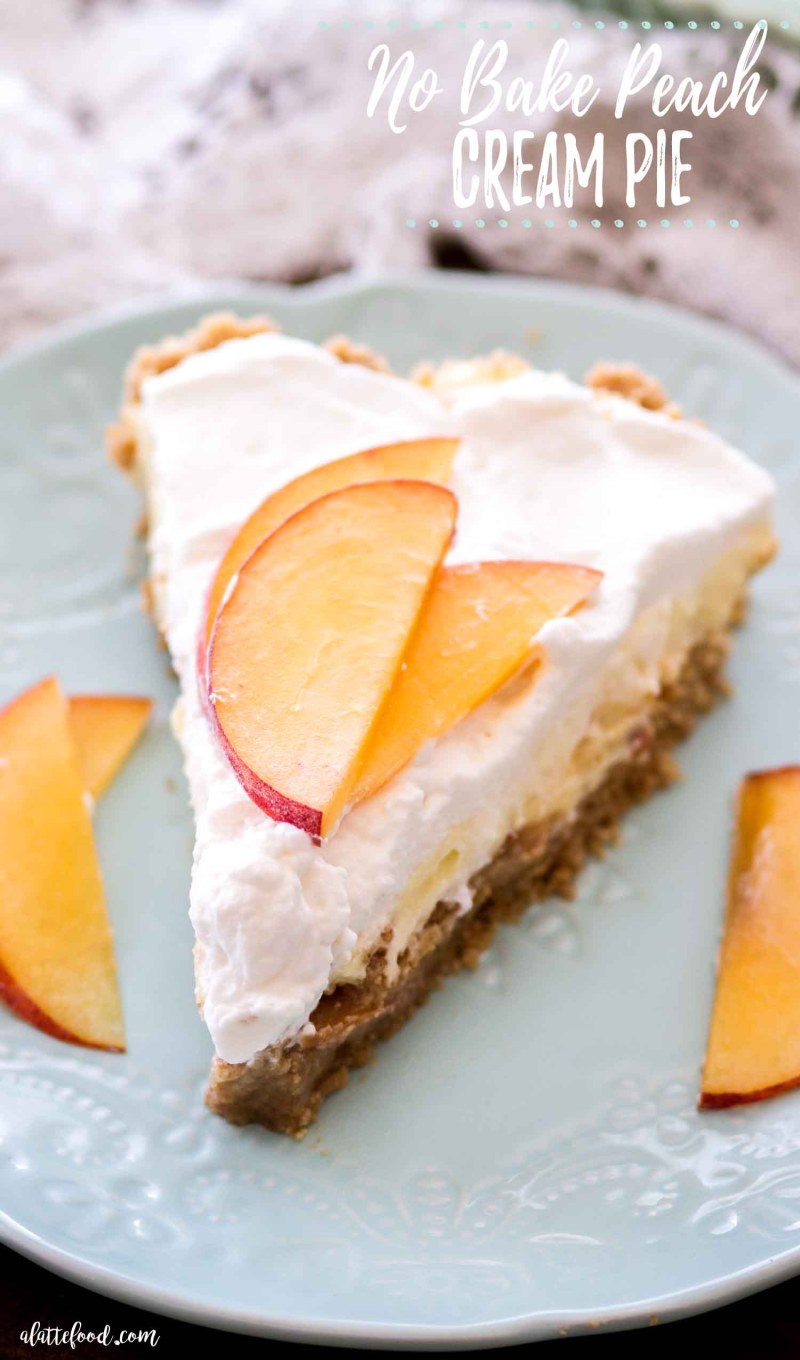 slice of peach cream pie on teal plate