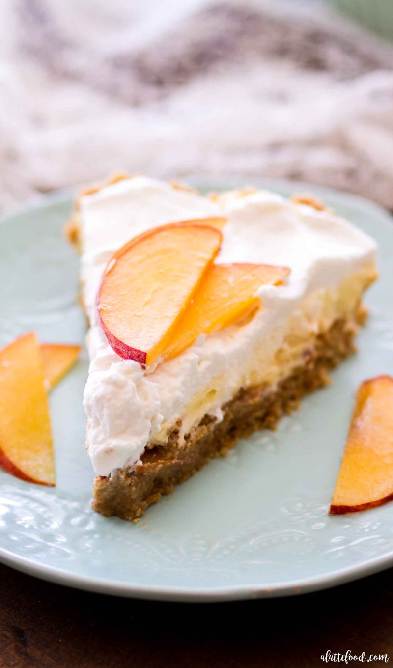no bake peach pie slice on teal plate
