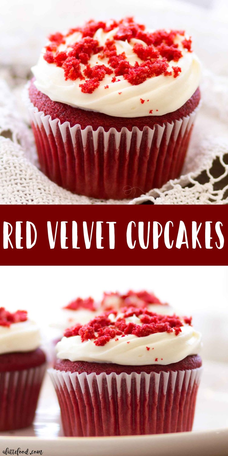 These homemade red velvet cupcakes are light, fluffy, and incredibly simple to make! The subtle cocoa flavor in these easy red velvet cupcakes pairs perfectly with the rich cream cheese frosting!
