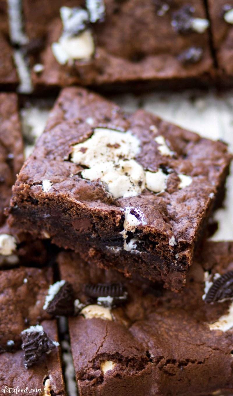 overhead shot of marshmallow oreo chocolate chip cookie bars