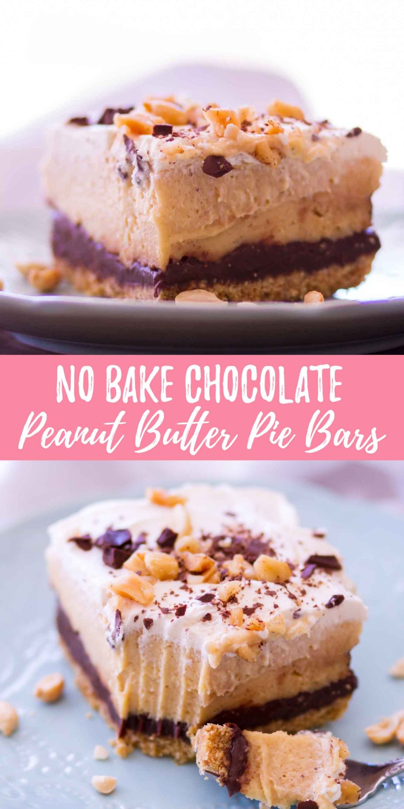 no bake chocolate peanut butter pie bars collage with text