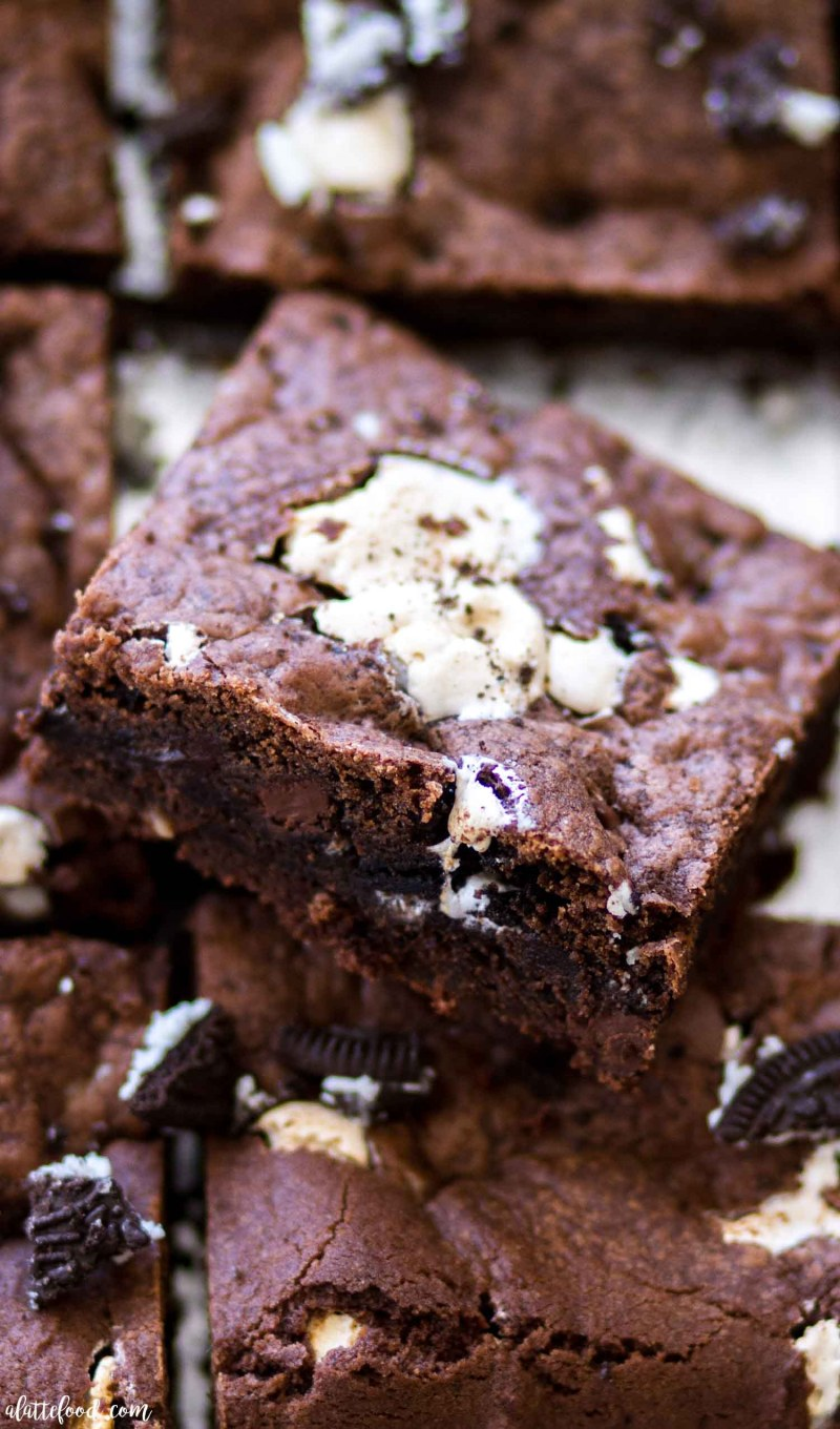 double chocolate oreo cookie bars in squares