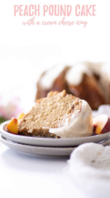 peach pound cake slice on grey plates