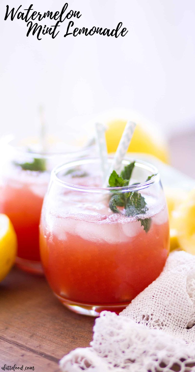 watermelon mint lemonade photo with text