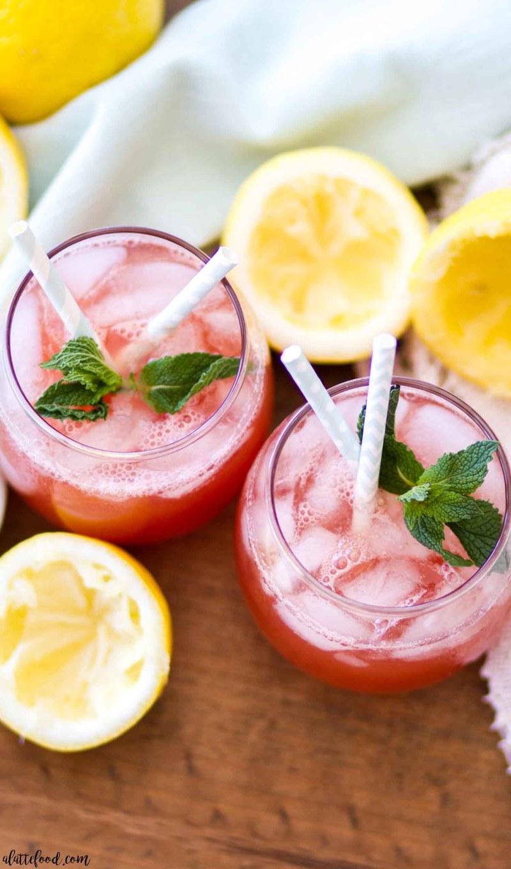 watermelon mint lemonade and fresh lemons in glasses