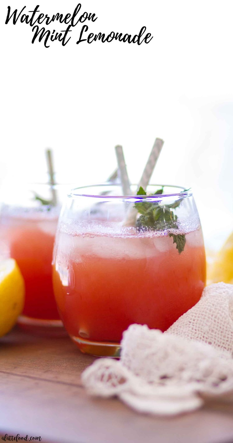 This easy Watermelon Mint Lemonade recipe is the perfect summer beverage! This homemade lemonade recipe has only 5-ingredients and is refined sugar free!