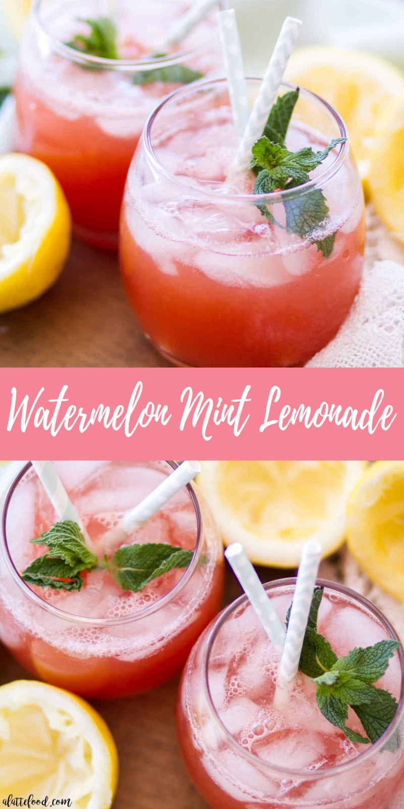 Watermelon Mint Lemonade collage with text