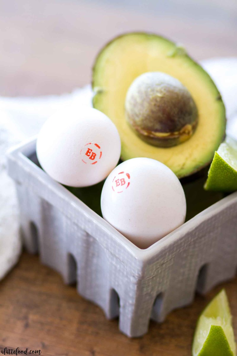 eggs and avocado in gray dish