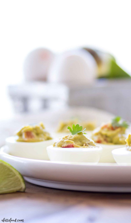 guacamole deviled eggs with cilantro