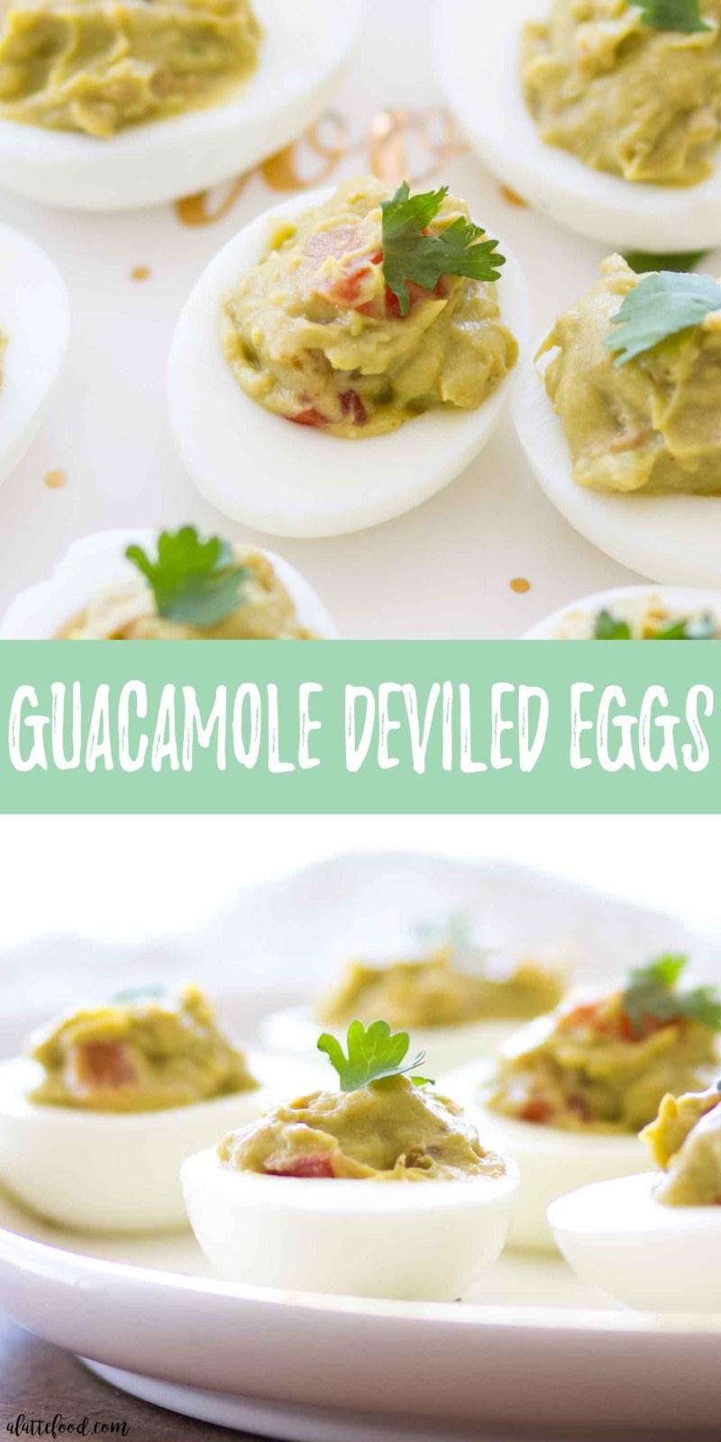guacamole deviled eggs collage