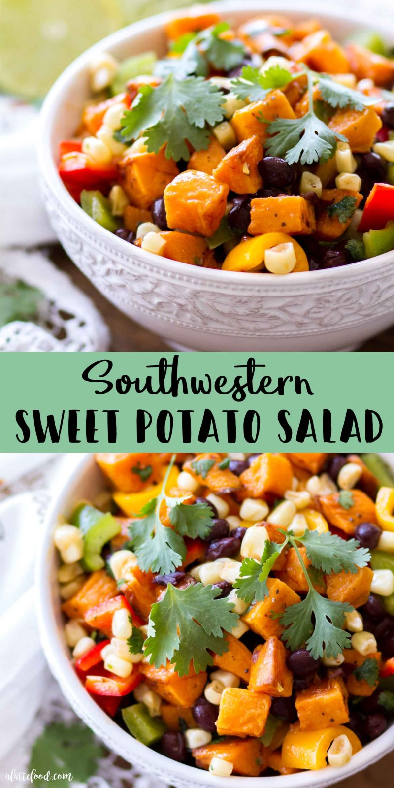 collage pictures of southwestern sweet potato salad in white bowls