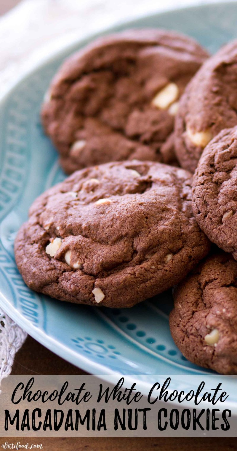 These Chocolate White Chocolate Macadamia Nut Cookies are extra rich, extra chocolatey, and extra good! Double Chocolate Chip Cookies meet White Chocolate Macadamia Nut Cookies for a match made in chocolate cookie heaven! These cookies are chewy in the center with slightly crispy edges—they're practically perfect! I love classic White Chocolate Chip Macadamia Nut Cookies, but Double Chocolate Chip Cookies are my ultimate weakness! chewy white chocolate chip cookies, no chill cookie recipe, best chocolate chip cookies